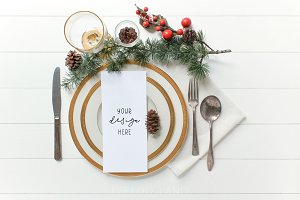 Festive Gold Program/Menu Mockup
