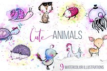 9 Cute Watercolor & Ink Animals Pack