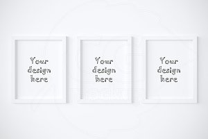 Set of 3 simple white frames mockup