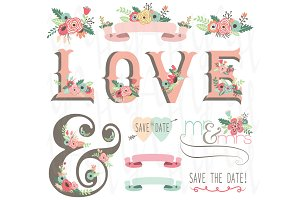 Vintage Flower LOVE Set