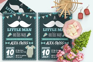 Retro Hipster Baby Shower Card