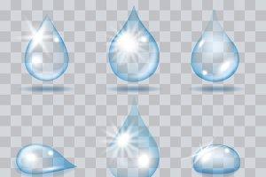 Falling water drops