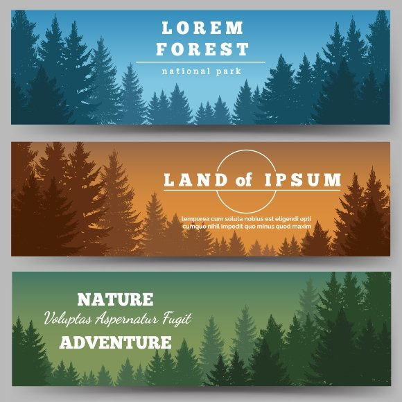 green pines forest banners graphics creative market