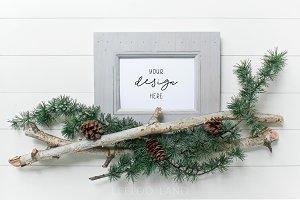 Festive Twig & Pinecone Frame Mockup