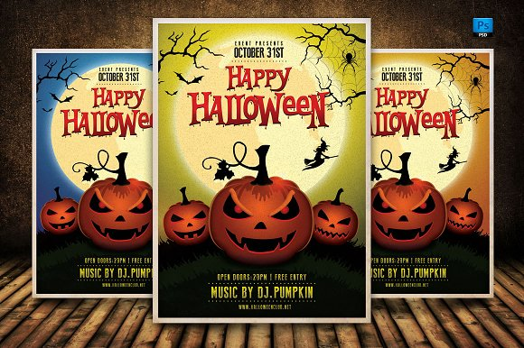 happy halloween flyer template flyers