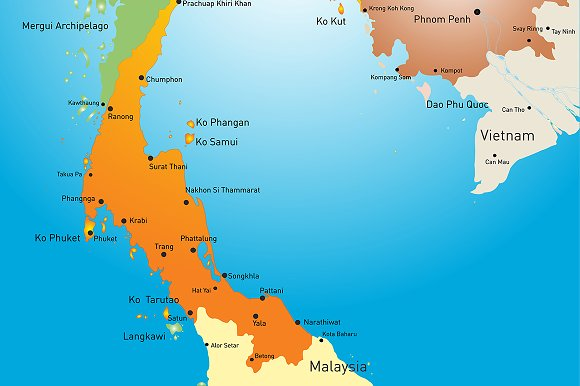 Vector color map of Thailand in Illustrations