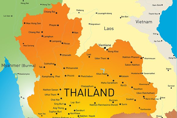 Vector color map of Thailand in Illustrations - product preview 1