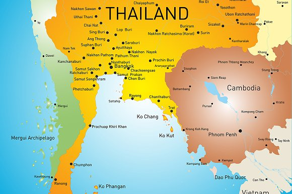 Vector color map of Thailand in Illustrations - product preview 2
