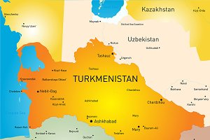 Vector color map of Turkmenistan