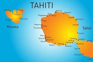 Vector color map of Tahiti