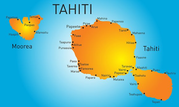 Vector color map of Tahiti in Illustrations