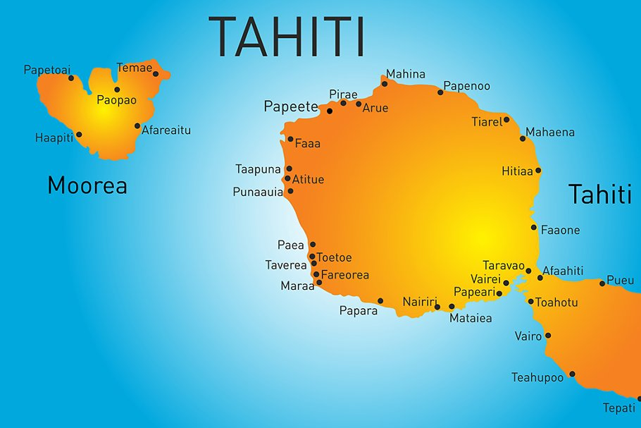 Vector color map of Tahiti in Illustrations - product preview 8