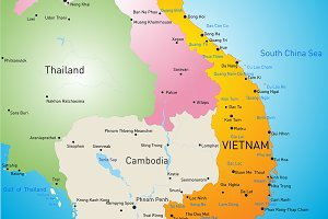 Vector color map of Vietnam