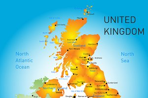 Vector color map of United Kingdom