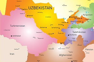 Vector color map of Uzbekistan