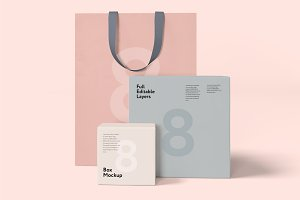 Box and bag mock-up set 8psd