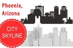 Phoenix, Arizona vector skyline