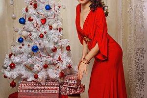 Girl Christmas tree and gifts