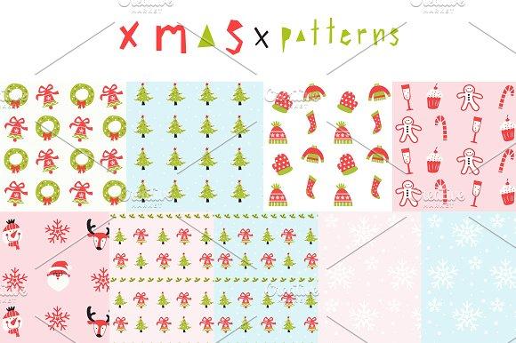 Merry Christmas seamless patterns