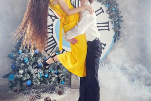 Couple dancing. Christmas party