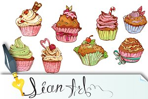 sweet cupcakes - elements for cafe