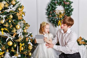 Father and daughter. Christmas