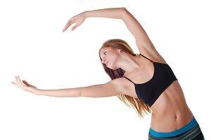 woman doing gymnastics exercises