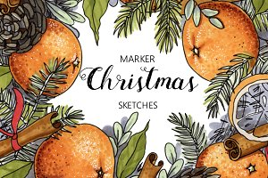 14 Christmas sketches + 5 patterns