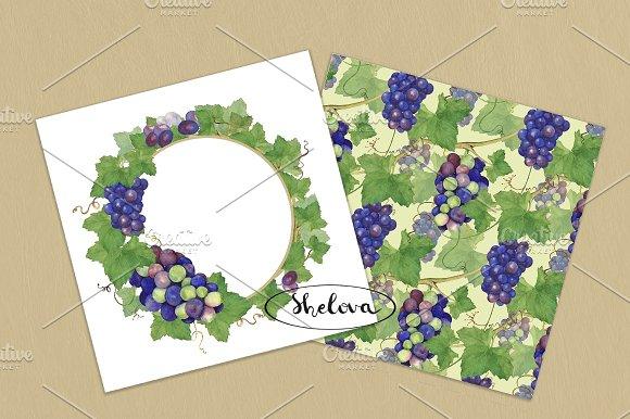 Grapes. Watercolor pattern