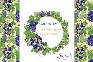 Grapes. Watercolor pattern