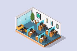 Isometric Illustration - Office Desk