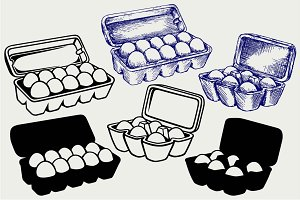 Eggs in a carton package SVG