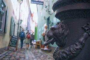 Tourists walk around Riga
