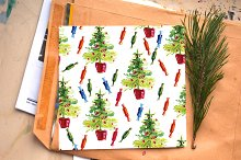 Watercolor Christmas pattern, tree
