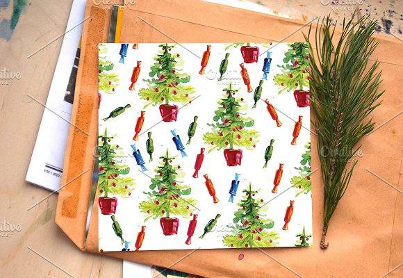 Watercolor Christmas pattern, tree