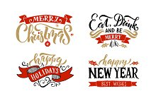 Christmas Holidays Lettering Set