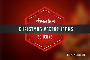 30 Premium Christmas line icons