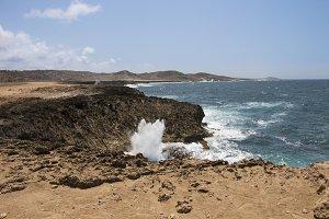 Waves against the coastline