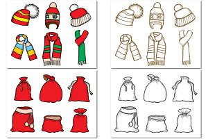 Santa stocking cap and gift bags