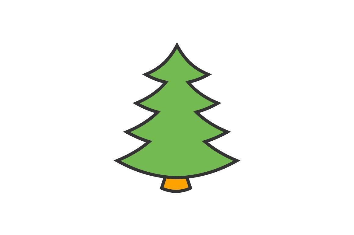 Christmas Tree Flat Line Icon