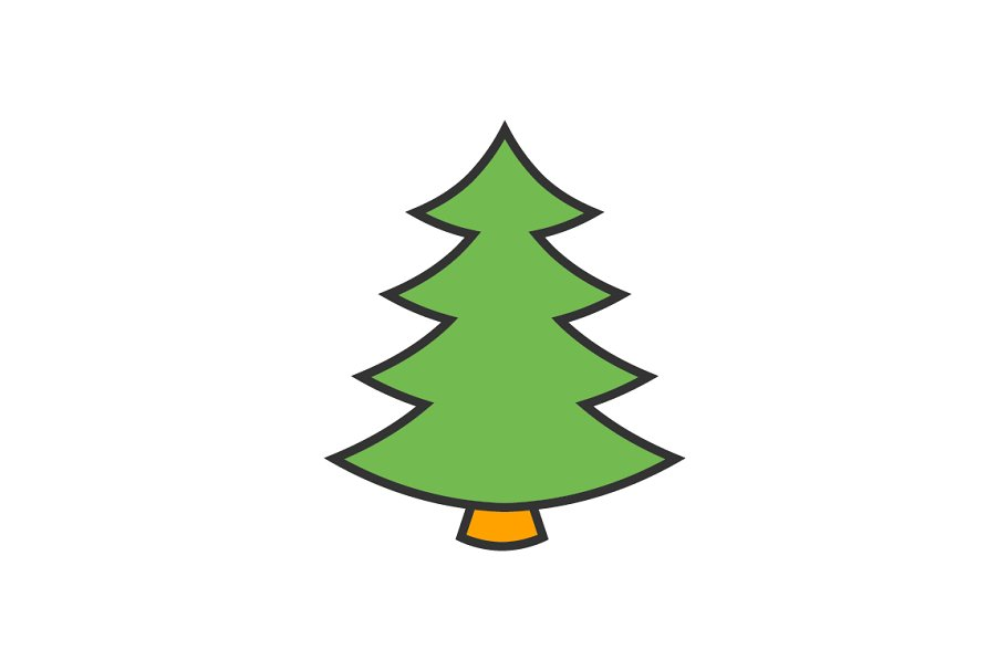 Christmas Tree Icon.Christmas Tree Flat Line Icon