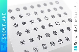 Snowflake Line Icons Set