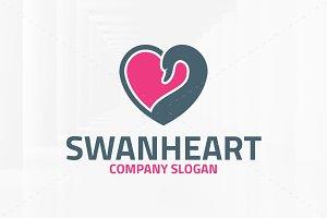 Swan Heart Logo Template