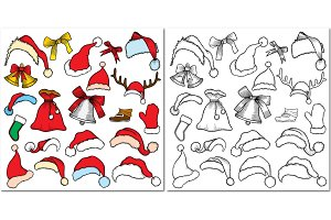 Sketch badges of different Christmas