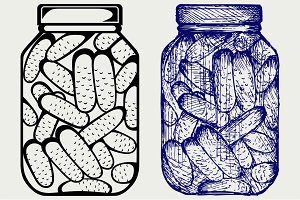 Preserved cucumbers in a jar SVG