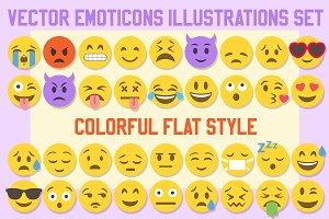 Big 36 Flat Style Vector Emoji set