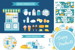 Dairy products set