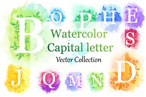 Vector Watercolor letter