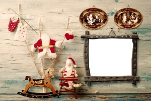 Christmas rustic wooden photo frame