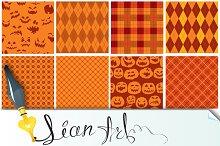 Set of 9 Halloween plaid seamless